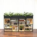 铁艺花架置物架客厅落地现代简约绿萝矮花架隔断屏风书架实木隔板
