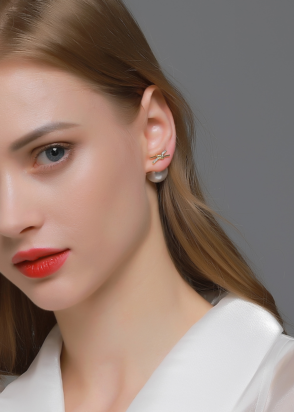 New fashion doublesided big pearl twowear knotted cross niche earrings NHDP263837