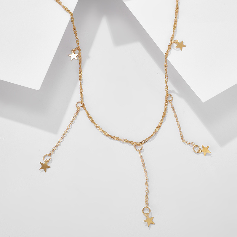 new fashion jewelry gold fivepointed star pendant necklace tassel necklace wholesale nihaojewelry NHGY238201