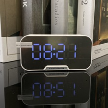 Mini mirror clock wireless bluetooth speaker with FM radio