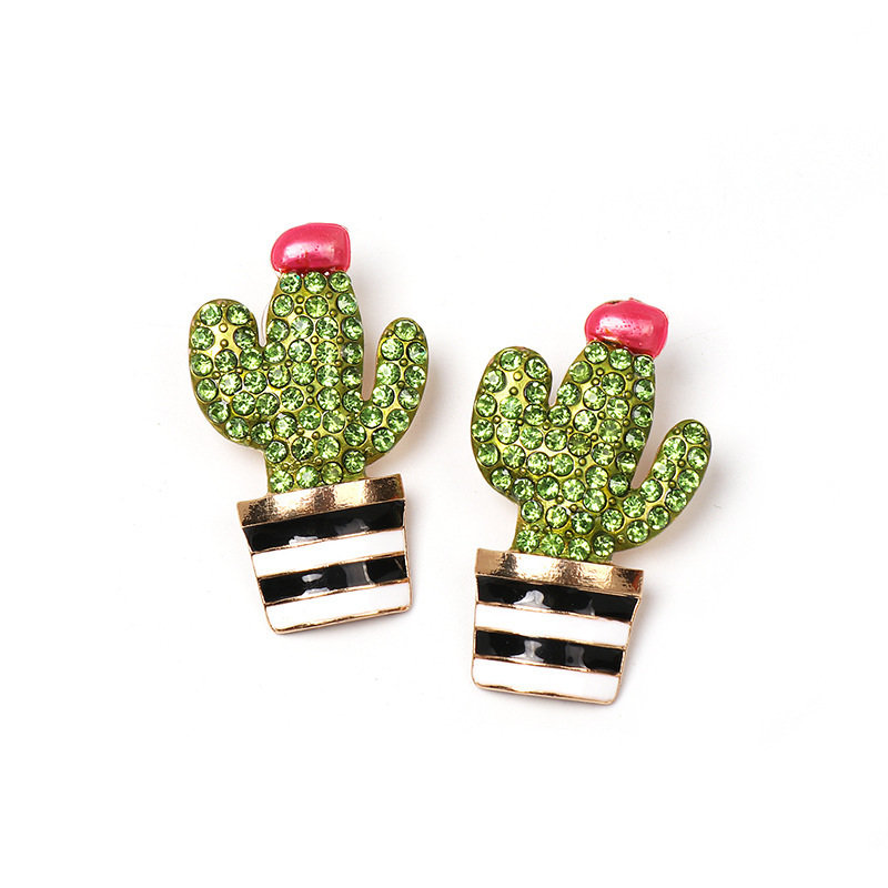 Jewellery for women Fashion cactus earrings for women alloy drop earrings with diamonds wholesales yiwu NHLN202567