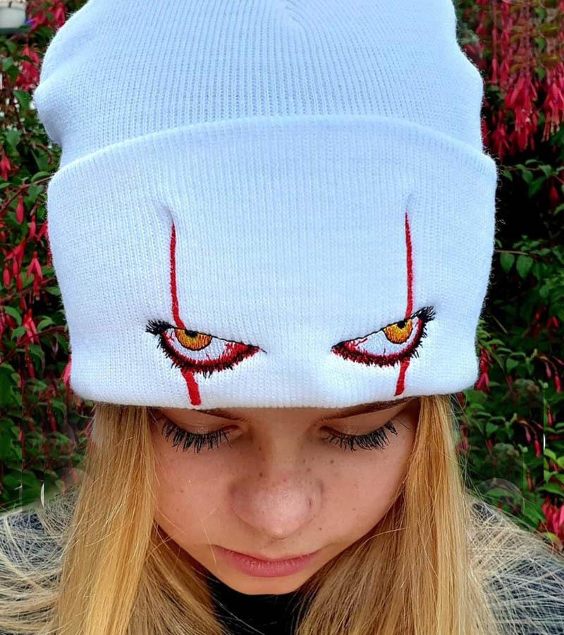 Pennywise scary eyes恐怖小丑眼睛针织帽保暖套头嘻哈帽子毛线帽
