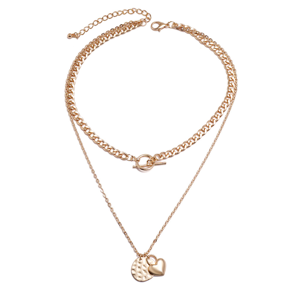 hot-saling new fashion geometric heart-shaped alloy pendant trend wild multi-layer necklace for women NHSD246233