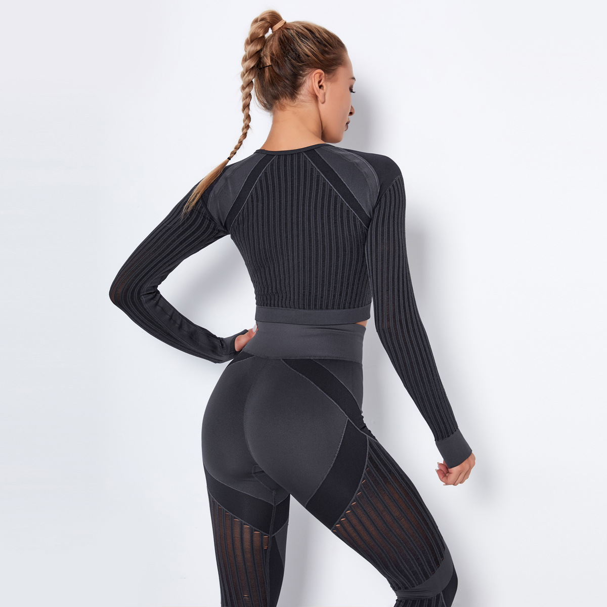 seamless knitted quick-drying breathable hollow fitness long-sleeved top NSLX8999