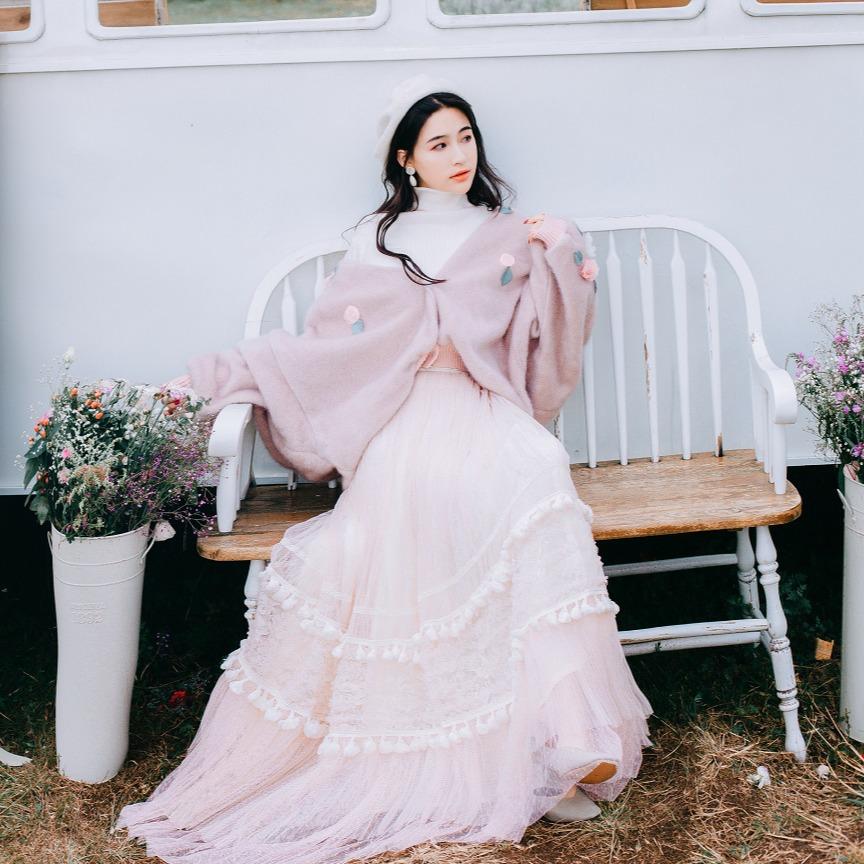 缺码甜美贴花雪貂绒毛衣女短款女宽松开衫外套+网纱仙女半身裙