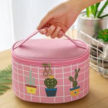 韩版大容量洗漱包防水手提圆桶化妆用品护肤袋跨境植物卡通收纳箱