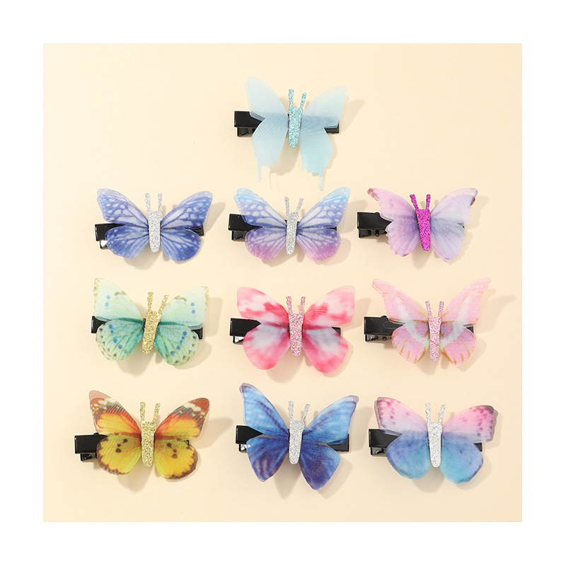 10pcs hot style bow hairpin fabric bright pink color children's hairpin wholesale nihaojewelry NHNU243418