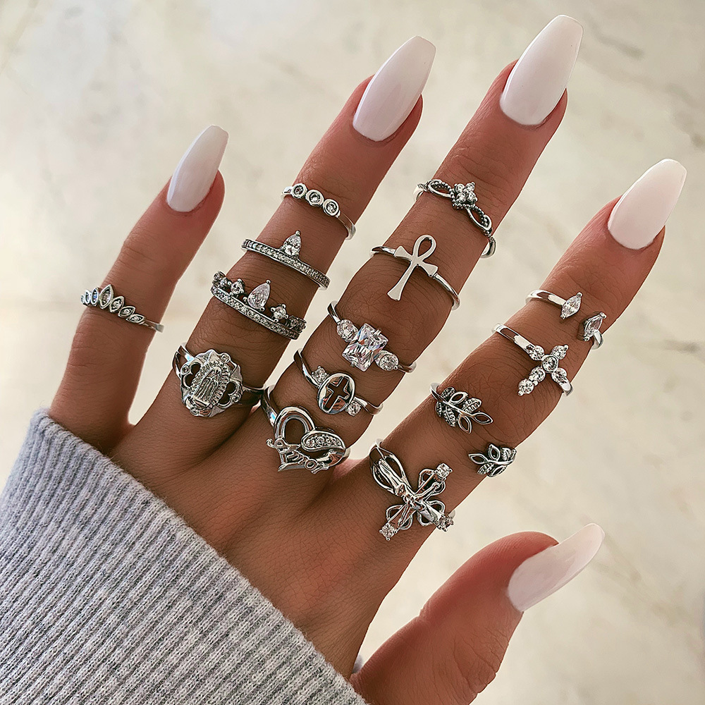 new leaf love-shaped fashion all-match diamond cross joint ring 14-piece set NHGY261803