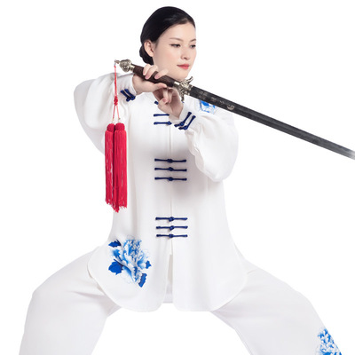 Kung fu uniforms tai chi clothing for women blue and white porcelain taichi clothing for female Taiquan training Costume martial arts performance competition uniform