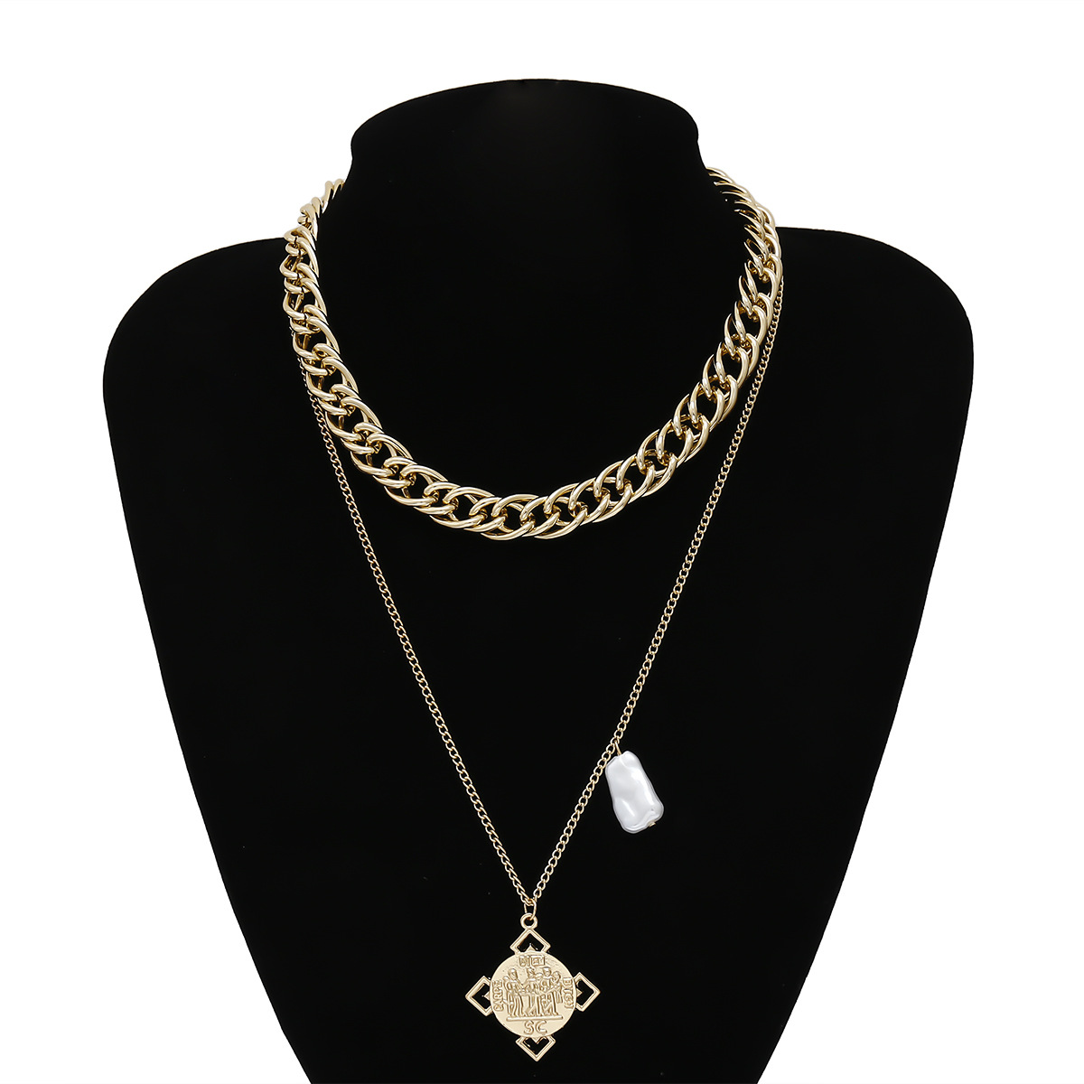Fashion Geometric Three-dimensional Portrait Embossed Pearl Necklace Double Chain Necklace NHXR201315