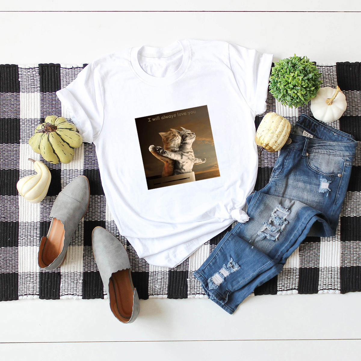hot casual funny cat short-sleeved T-shirt for women NSSN897