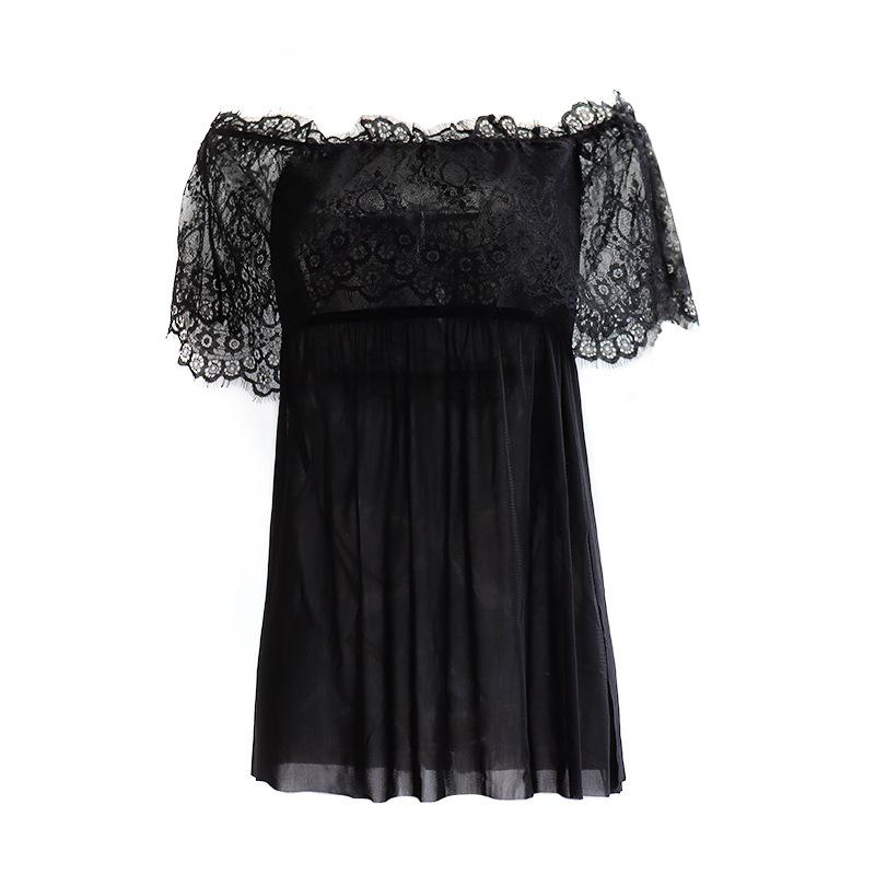 new underwear sexy lace off-the-shoulder bodysuit temptation women mesh splicing lace nightdress wholesale nihaojewelry NHYO224088