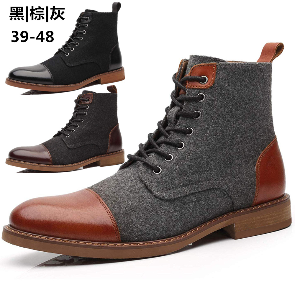 Men'S High Top Martin Boots Imitation Wool Fashion Boots Autumn And Winter Boots