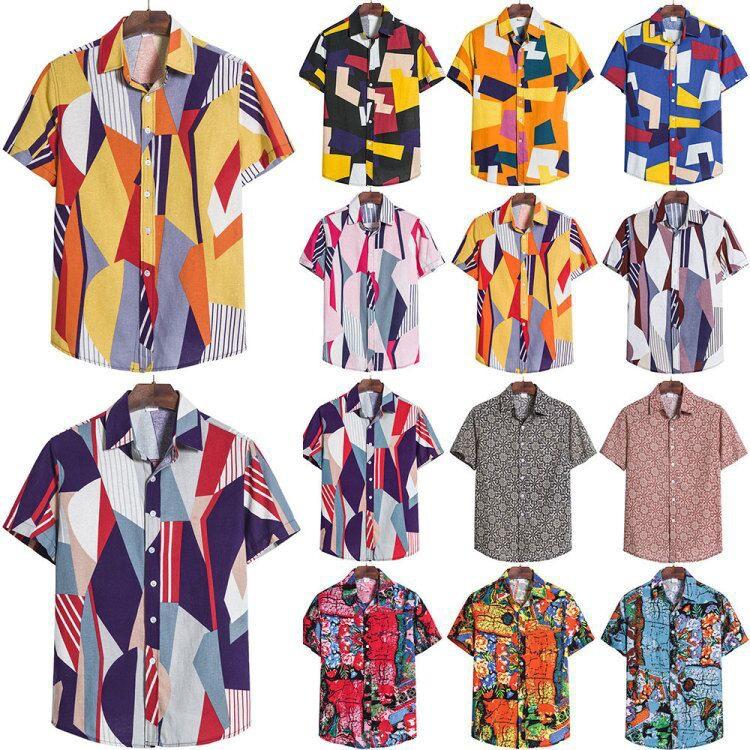 2020 foreign trade new large men's short sleeve shirt fashion printed shirt British men's shirt cross border