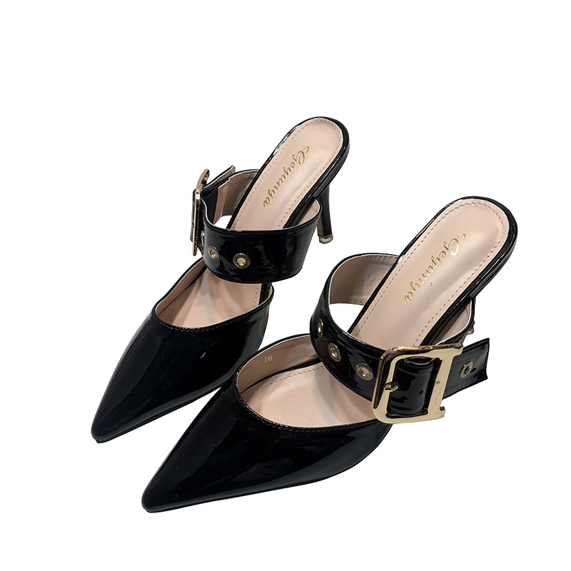 New women's shoes fine high heel pointed leather belt buckle sandals slippers NHSO209227