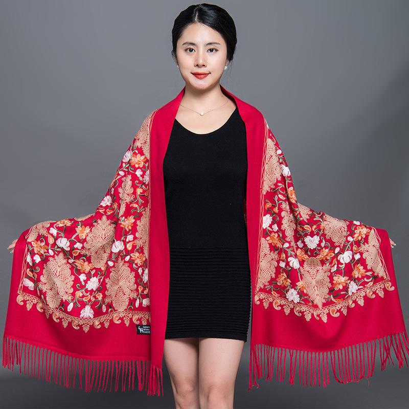 尼泊尔精美手工刺绣花大红结婚羊绒羊毛披肩中国名族风围巾两用女