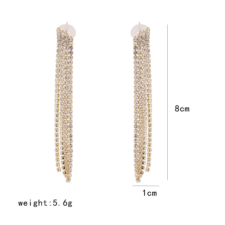New multi-layer rhinestones with diamond claw chain full diamond simple geometric tassel earrings NHJJ212327