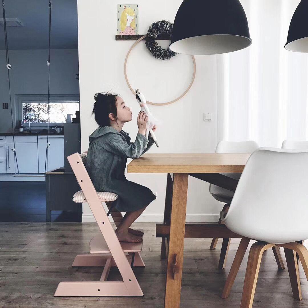 ins北欧儿童宝宝成长餐椅 婴儿多功能可调节升降成长实木椅