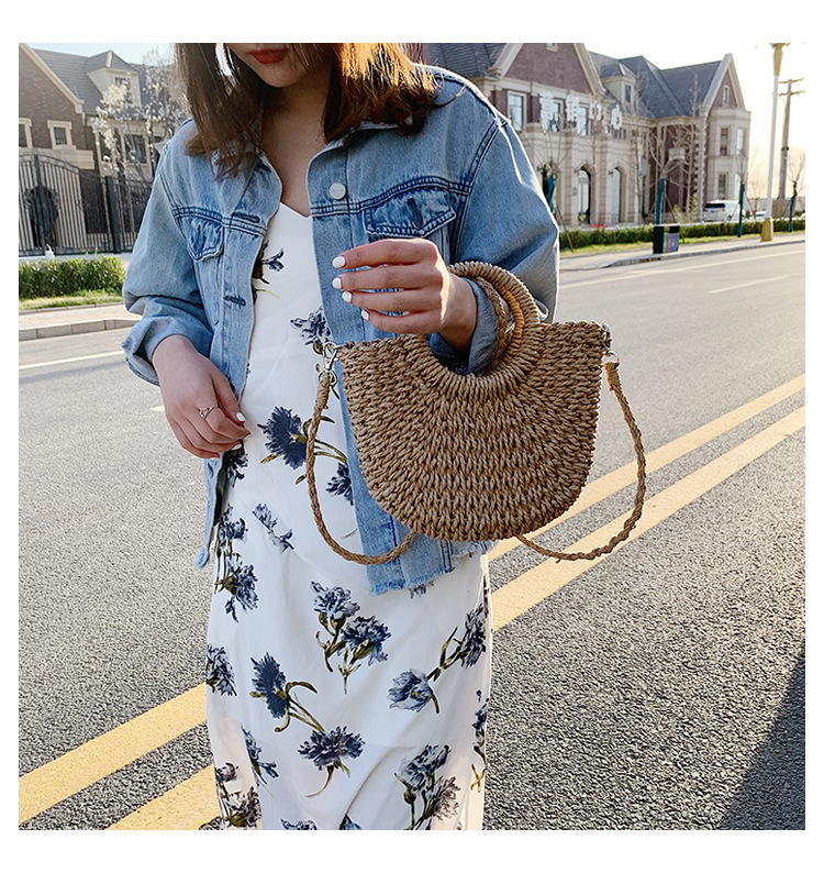 Summer popular woven handbags new fashion one-shoulder straw woven messenger bag wholesale NHLH250562