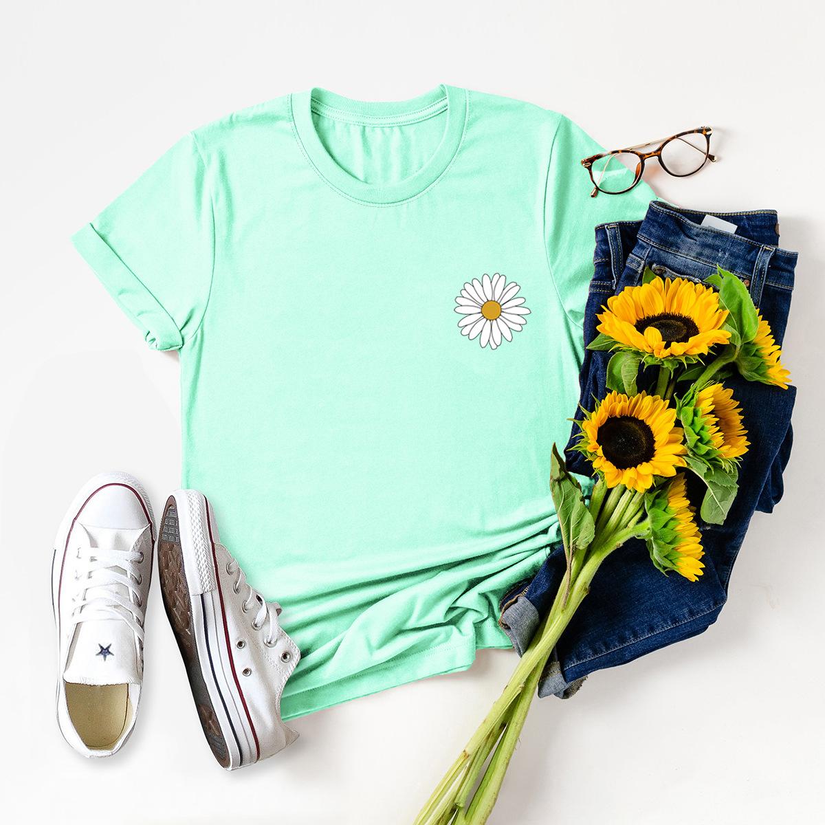 casual pocket small daisy short sleeve women's T-shirt NSSN3046