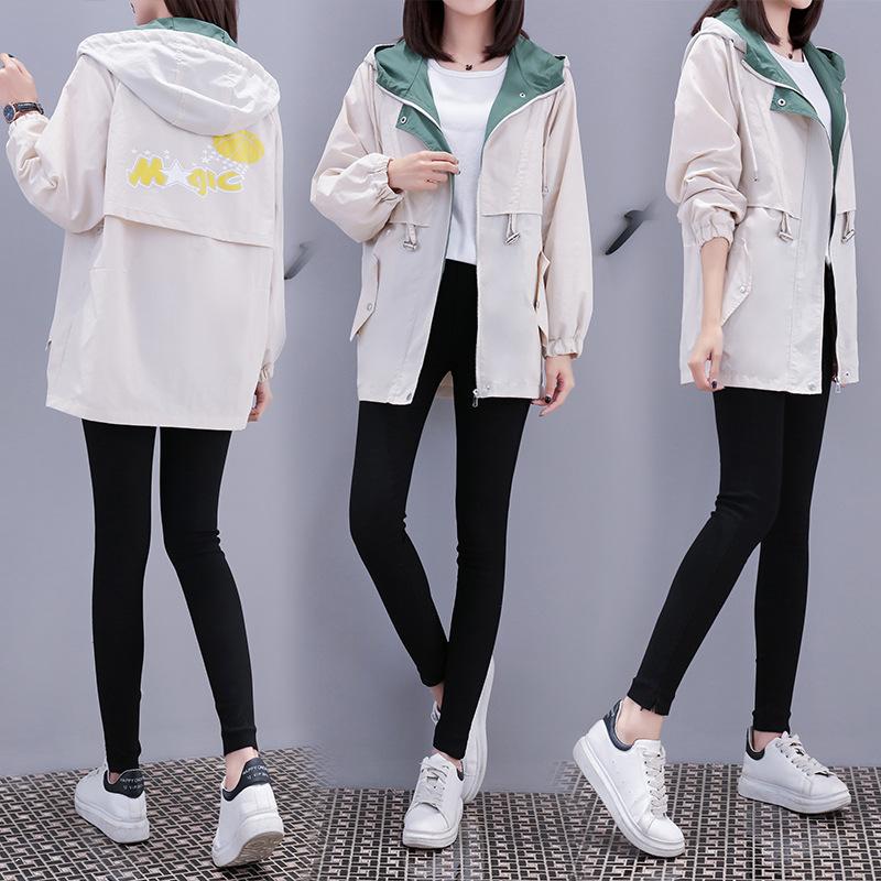 风衣外套女生中长款2020新款春秋装初中高中学生韩版宽松休闲上衣