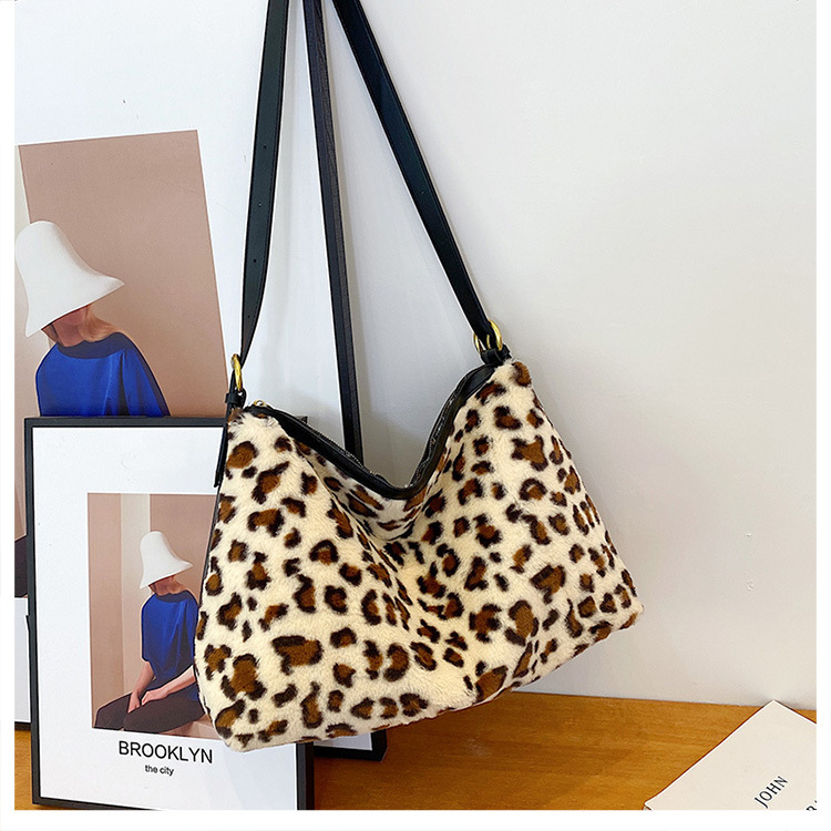 Leopard print fur bag tote bag large capacity shoulder bag NHLH282789
