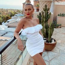 2020春款女裝歐美跨境新款時尚荷葉邊露肩一字領包臀短裙 連衣裙