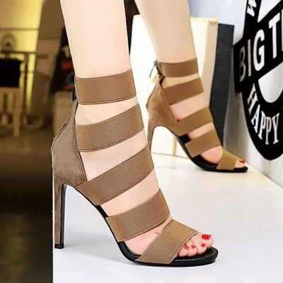 Europe and the United States, 190-1 party sexy nightclub show thin elastic hollow out super high heels for women's shoes