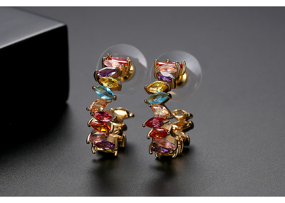 Stud Earrings New Trend Color Lady Copper Inlaid Zircon Earring Gift NHTM205834