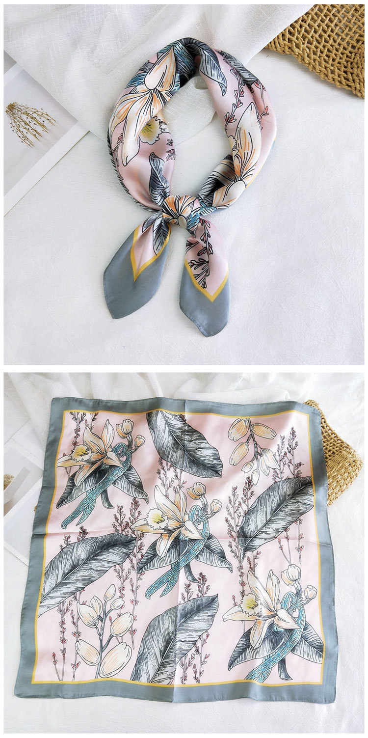 New wild spring scarf to protect the cervical spine Korean thin sunscreen small square silk scarf for women  NHMN246525
