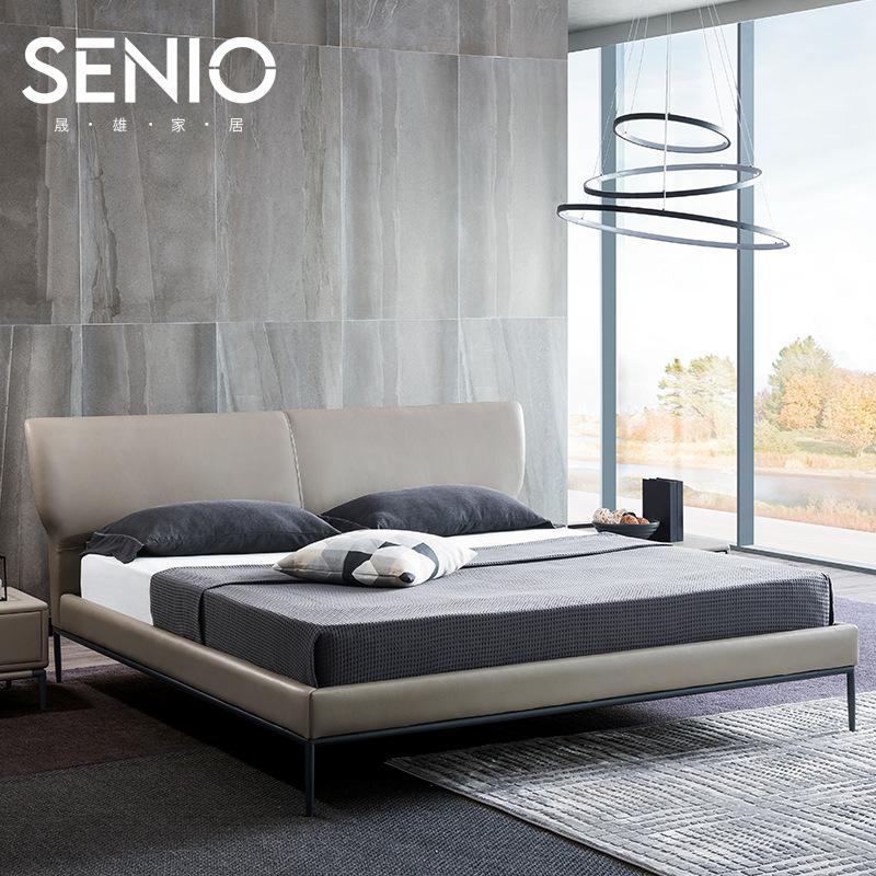 意式极简轻奢真皮床布艺床主卧1.8米1.5米现代简约舒适双人床婚房