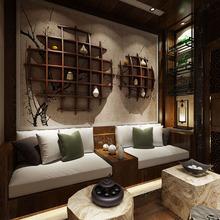 博古架實木電視背景墻書架新中式辦公茶室禪意客廳壁掛墻上置物架
