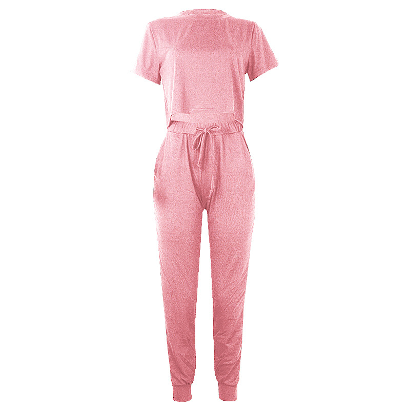 summer new hot style women's round neck short-sleeved umbilical casual suit NSKX5953