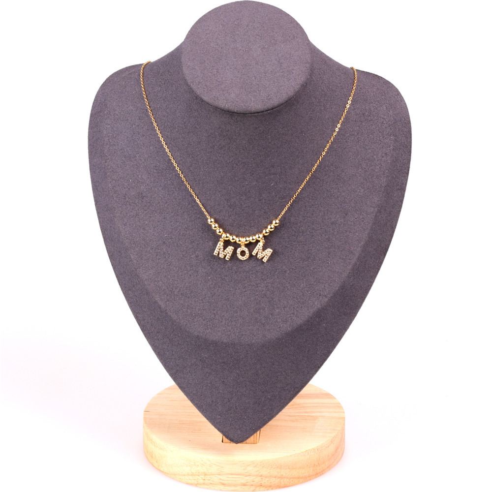 Mother's Day gift new fashion MOM letter zircon necklace wholesale NHPY209796