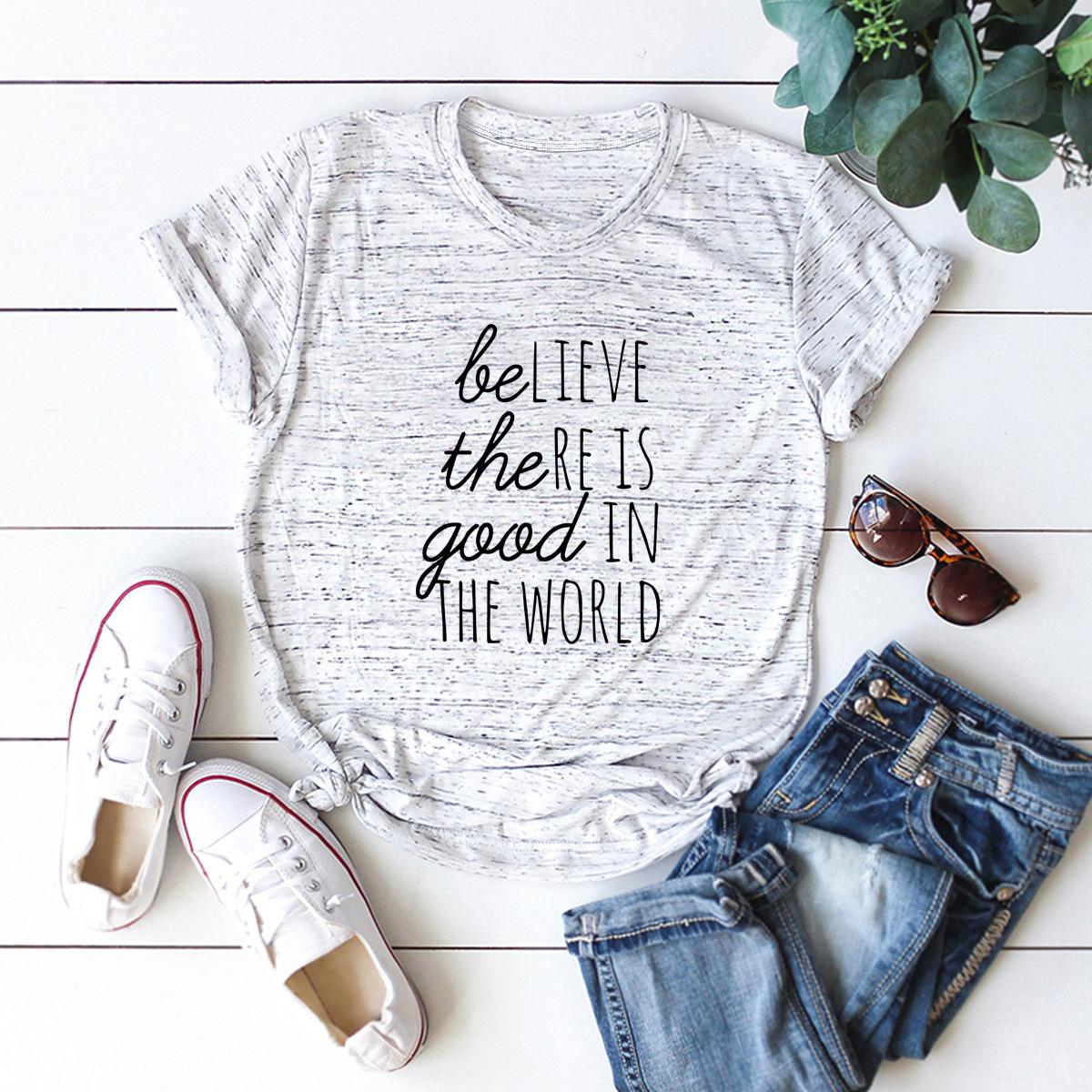 casual letter printing women's short-sleeved t-shirt NSSN3661