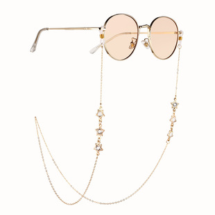 Simple metal diamond-studded five-pointed star accessories glasses chain anti-slip anti-drop mask rope chain glasses lanyard
