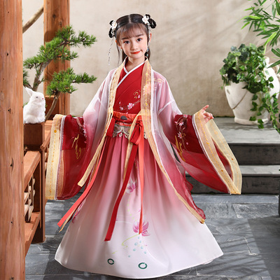 Children Chinese Hanfu fairy dress fairy elegant super fairy children Xianyi Ru skirt ancient girl princess skirt