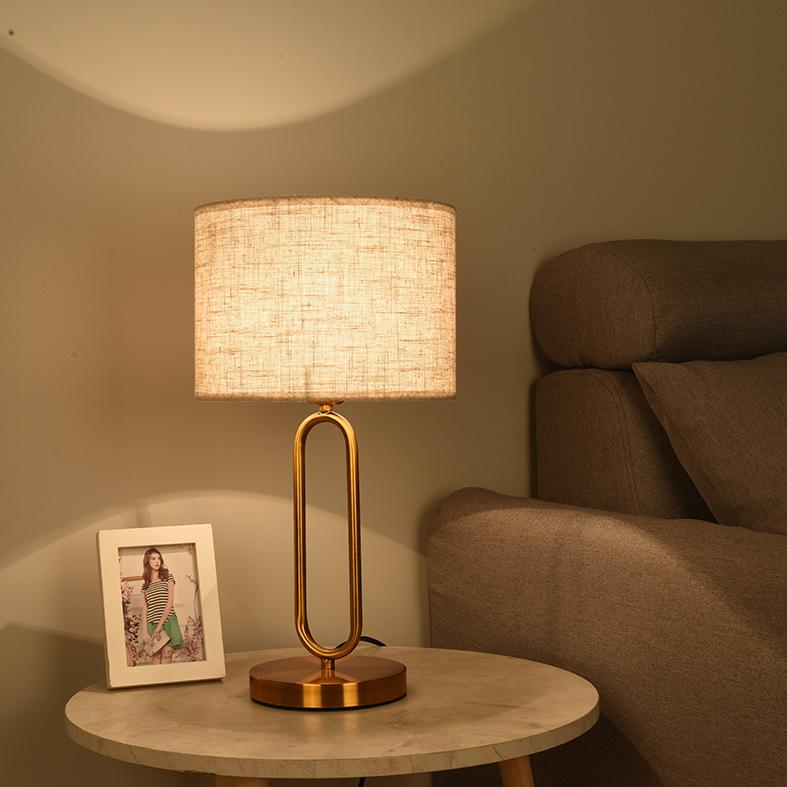 台灯金色铁艺U形管创意灯宾馆客厅书房卧室床头LED布艺台灯