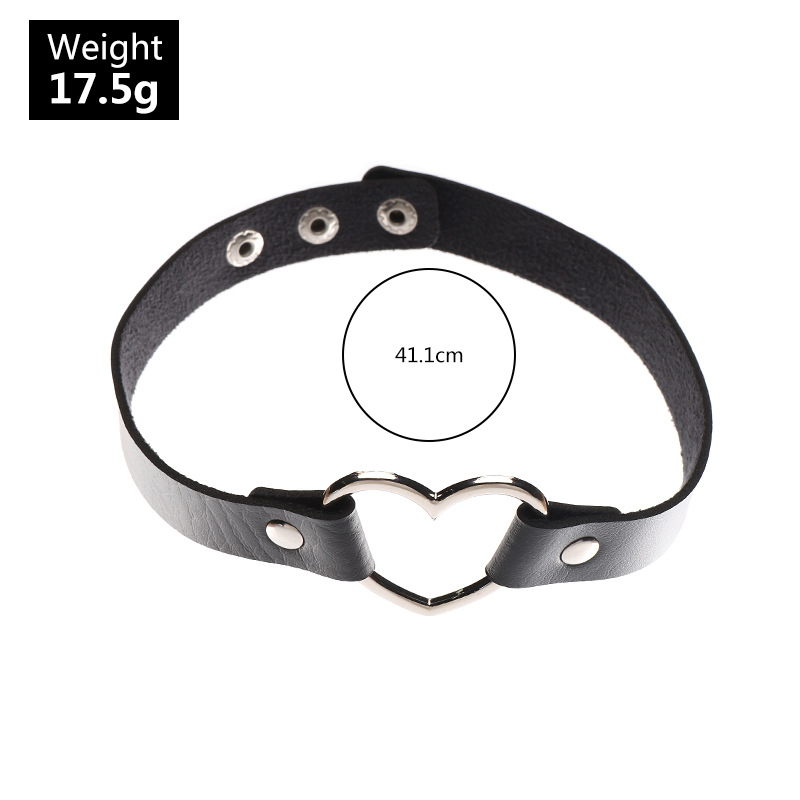 Fashion trendy leather peach heart collar alloy clavicle chain necklace for women NHNZ244530