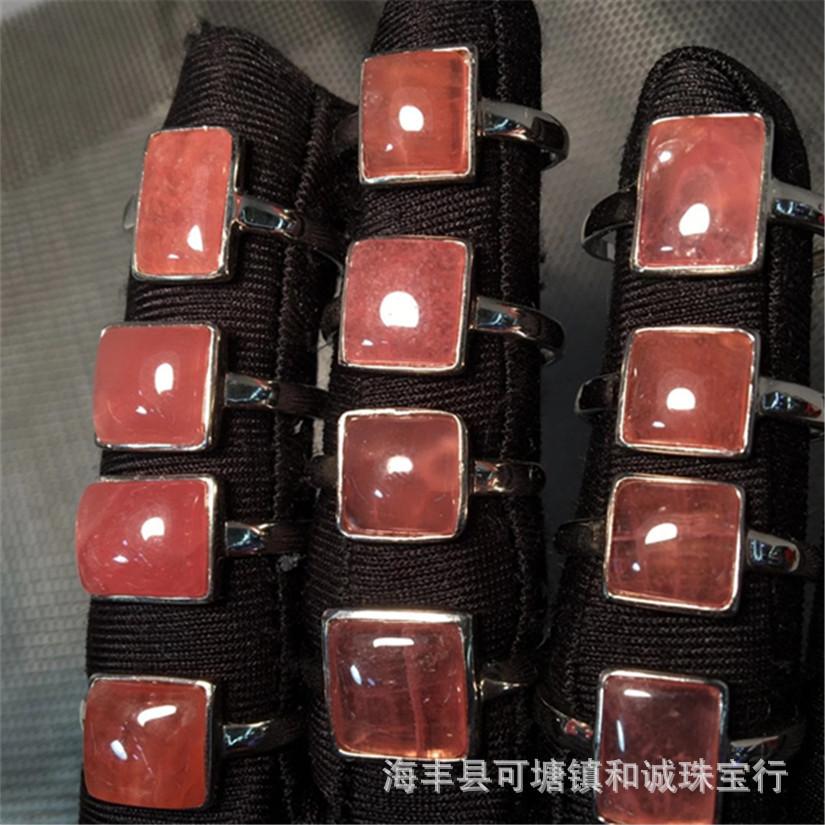 天然阿根廷红纹石戒指925银镶嵌红纹石戒面戒指西瓜红厂家批发