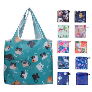 Factory direct supply spot environmentally friendly polyester shopping bag, supermarket grocery shopping storage bag, portable folding mother-and-child bag customization