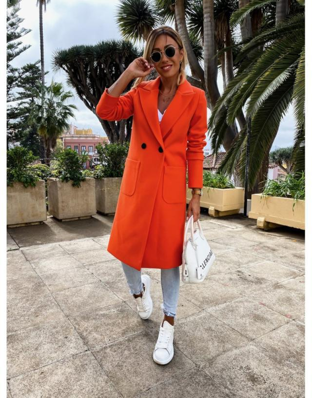 women's autumn and winter new fashion long candy color lapel woolen coat NSYD3752