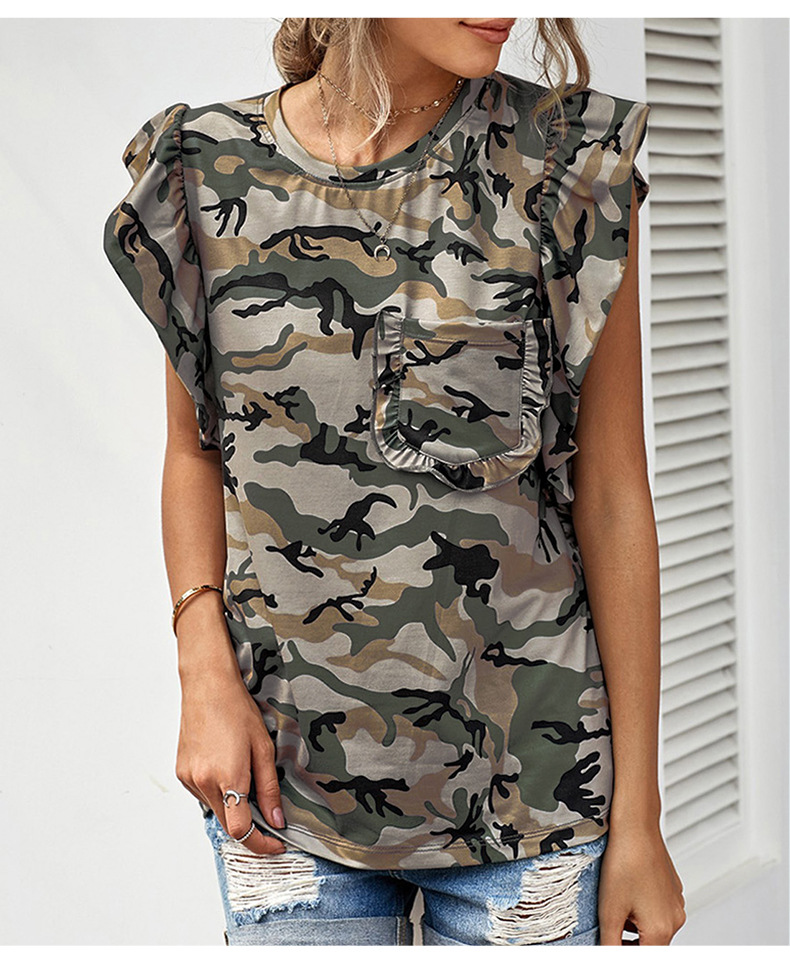 camouflage summer new casual round neck ruffled pleated pullover women's t-shirt NSSI2566
