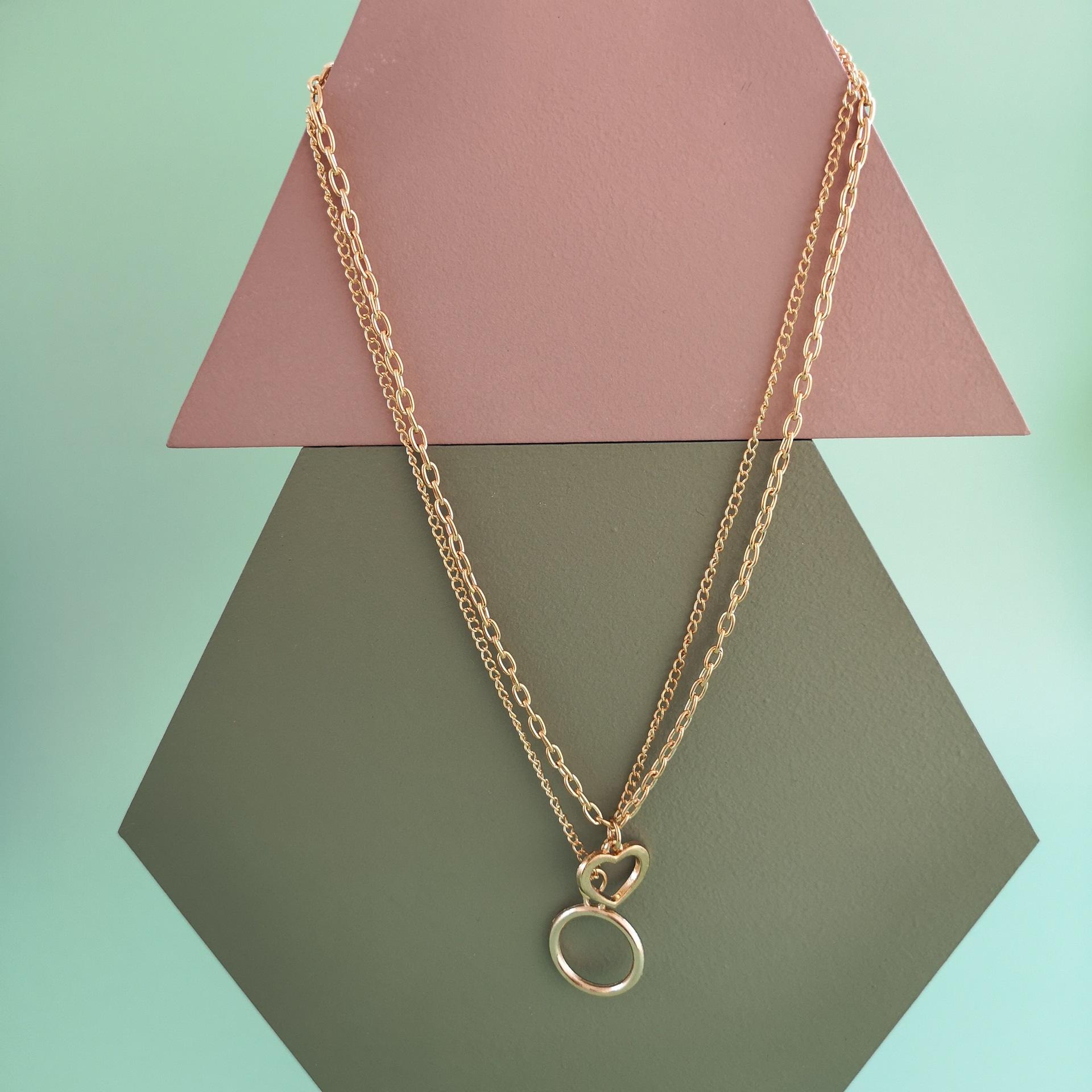 New fashion doublelayer retro hollow hollow round geometric necklace pendant for women wholesale NHJJ210528