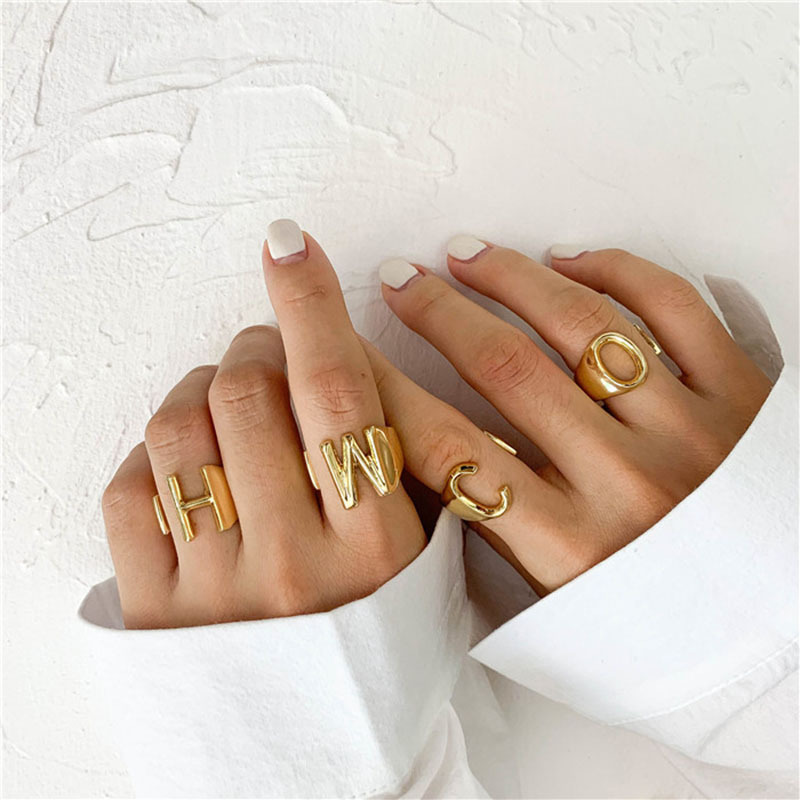 New 26 English alphabet ring fashion street shooting opening adjustable metal ring women NHOT200409