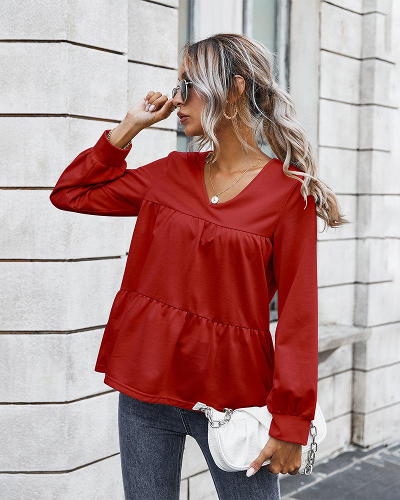 women's new retro classic solid color T-shirt  NHKA258528