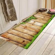 跨境热销法兰绒地垫木板印花地毯厨房浴室防滑吸水垫门垫厂家直销