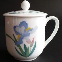 醴陵釉下五彩帶蓋陶瓷杯辦公會議杯子勝利杯手繪蝴蝶蘭人大杯茶杯