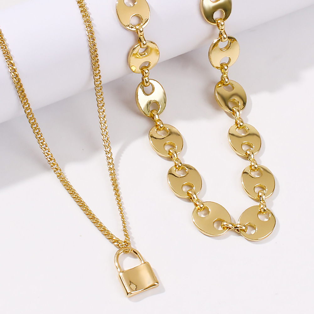exaggerated punk style alloy disc necklace creative lock pendant fashion necklace set wholesale nihaojewelry NHMD223306