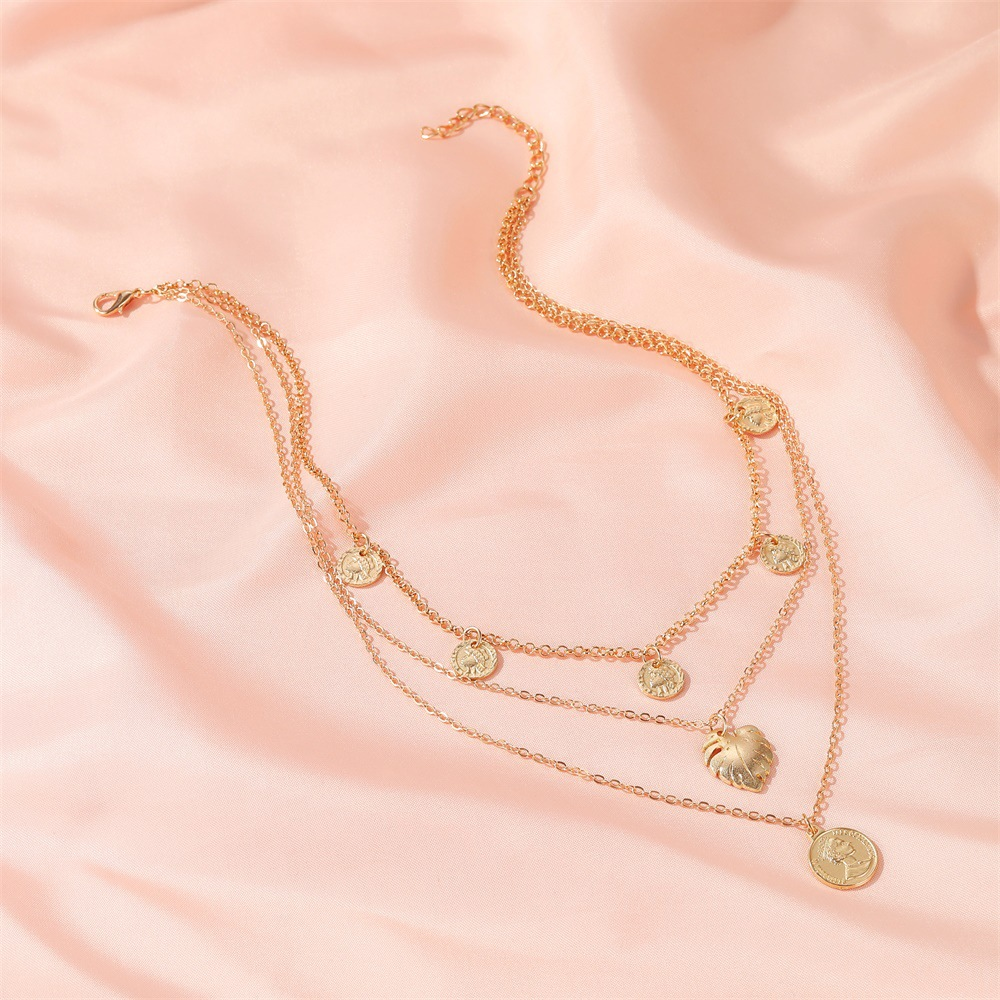 retro long multilayer leaf portrait 3 layer currency pendant sweater chain alloy womens accessories NHDP244396